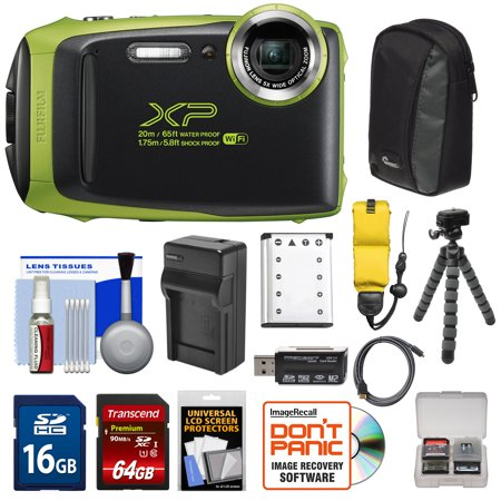 Fujifilm FinePix XP130 Shock & Waterproof Wi-Fi Digital Camera (Lime) with 64GB Card + Battery +Charger + Cases + Tripod + Float Strap + Kit