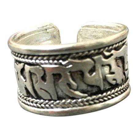 Handmade Tibetan Silver Tone Metal Om Mani Padme Hum Mantra Meditation Adjustable Unisex Ring