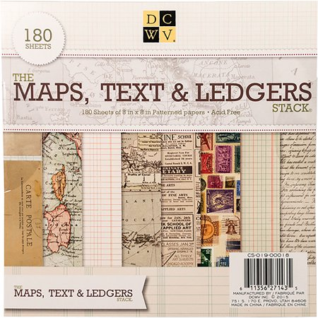 Dcwv Single Sided Cardstock Stack 8 X8 180 Pkg Maps Text Ledgers