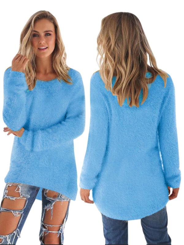 WODSTYLE LLC Women's Velvet Fluffy Jumper Long Sleeve Pullover Warm Sweater