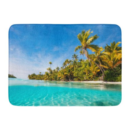 GODPOK Stunning Tropical Island with Palm Trees White Sand Turquoise Ocean Water and Blue Sky at Cook South Rug Doormat Bath Mat 23.6x15.7 inch ()