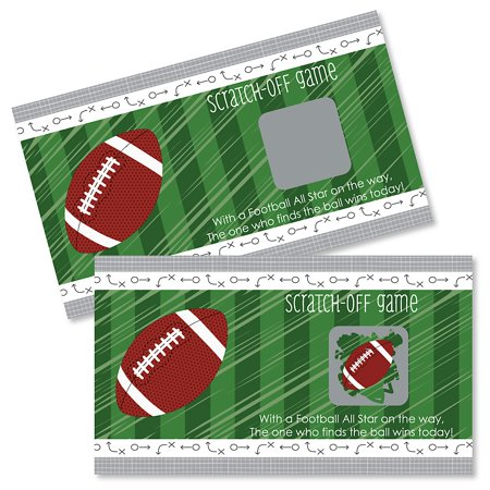 End Zone - Football - Baby Shower or Birthday Party Game Scratch Off Cards - 22 Count