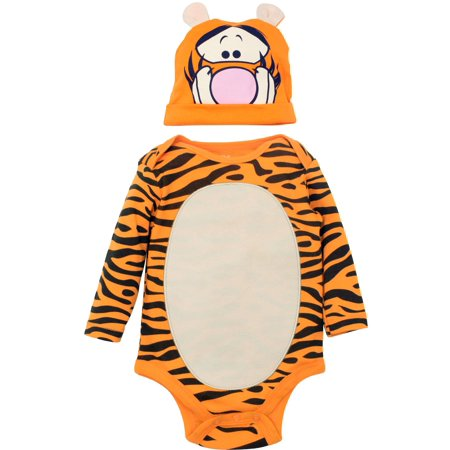 Disney Tigger Baby Boys' Costume Bodysuit and Hat Set, Orange (3-6 Months) (3-6 Month Old Baby Halloween Costumes)