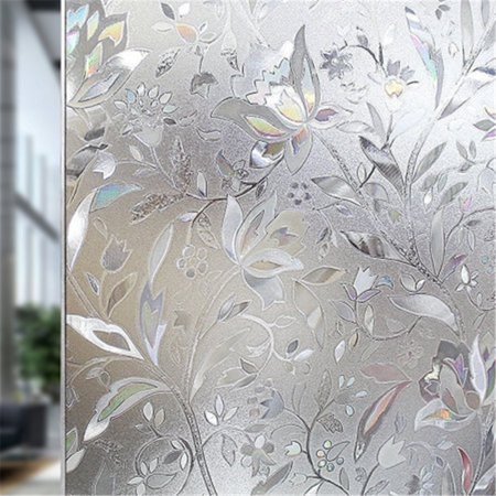 Popeven Privacy Window Film Frosted Window Film Stained Glass Window Film Window Clings No-glue Self Static Cling for Home Bathroom Decorative Kitchen Office 18 by 78.7''