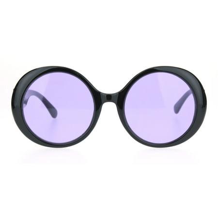 b23d713307f5 SA106 - Womens Round Circle Mod Hippie Color Lens Plastic Wizard Sunglasses  Black Purple - Walmart.com