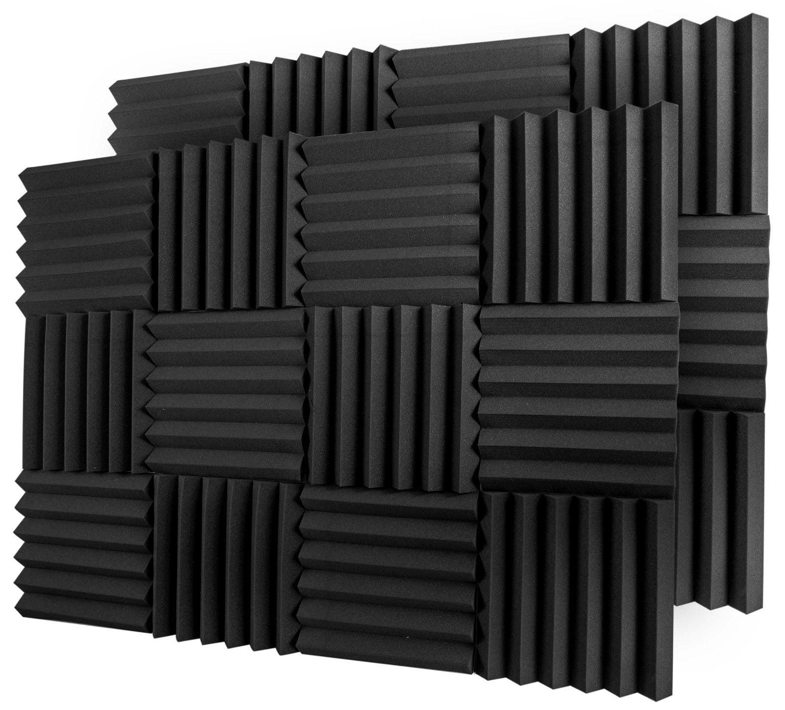 "12 Acoustic Foam Tiles Wall Record Studio Sound Proof 12""x 12""x 2"" Fire Resistant Panels"