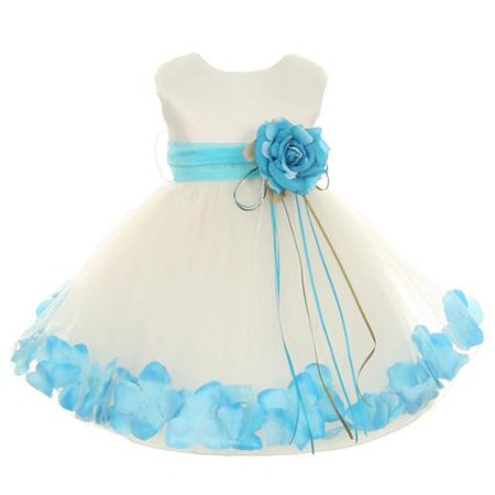 - Kids Dream Baby Girls Ivory Aqua Satin Petal Floating Flower Girl Dress 18M
