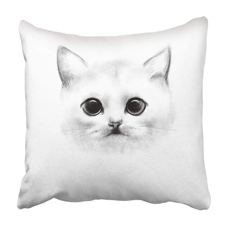 ARHOME Pencil Drawing Portrait of White Cat with Large Eyes and Short Nose Breed Scottish Pillowcase 20x20 inch - Large Breed Cats