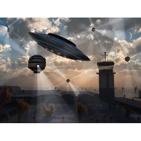 Artists Concept Of Stealth Technology Being Developed On Area 51 Canvas Art   Mark Stevensonstocktrek Images  33 X 25