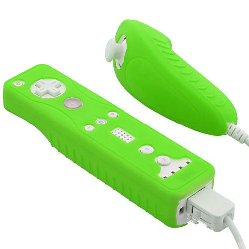 Fosmon Nintendo Wii Remote and Nunchuck Safe-Grip Silicone Skin Case - Dark Green