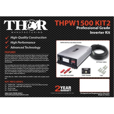 Thor THPW2000 12V 2000 watt Pure Sine Wave Inverter with USB
