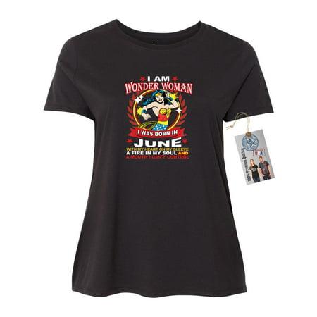 Wonder Woman Born In June Superhero  Womens Short Sleeve T-Shirt Top