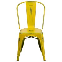 "33.5"" Distressed Yellow Metal Indoor or Outdoor Stackable Chair with Curved Back"