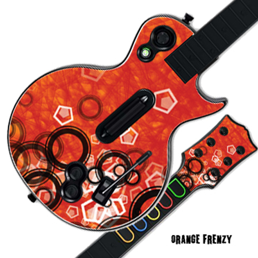 Mightyskins Protective Skin Decal Cover Sticker for GUITAR HERO 3 III PS3 Xbox 360 Les Paul - Orange Frenzy