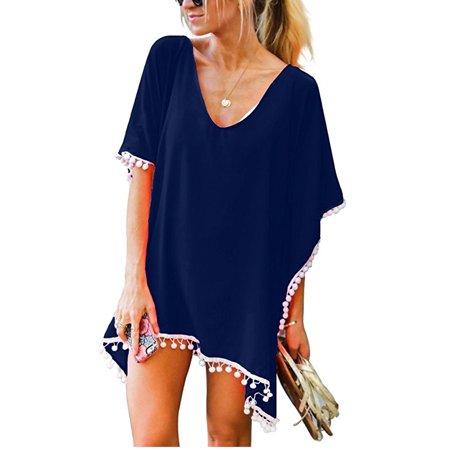5e9c2cb956283 SAYFUT - Bohemian Beach Wear Bathing Suit Cover Up Summer Kaftan Beach  Shirt Dress with Tassels for Women - Walmart.com