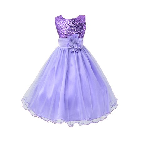 Pink Flower Shape - StylesILove Lovely Sequin Flower Girl Dress, 5 Colors (1-2 Years, Purple)