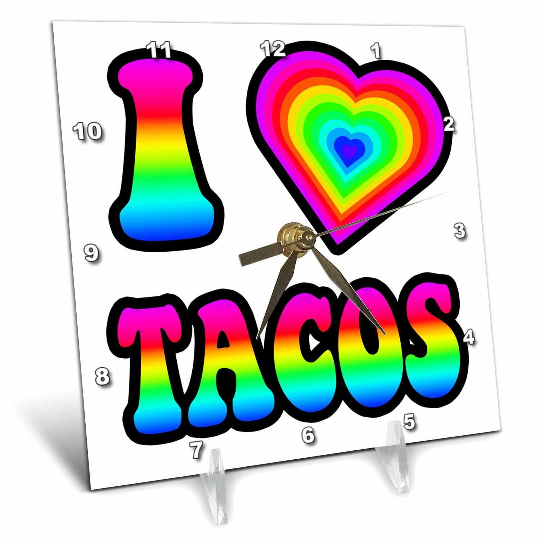 3dRose Groovy Hippie Rainbow I Heart Love Tacos, Desk Clock, 6 by 6-inch by 3dRose