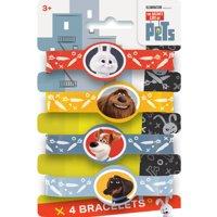 the Secret Life of Pets Rubber Bracelet Party Favors, 4ct