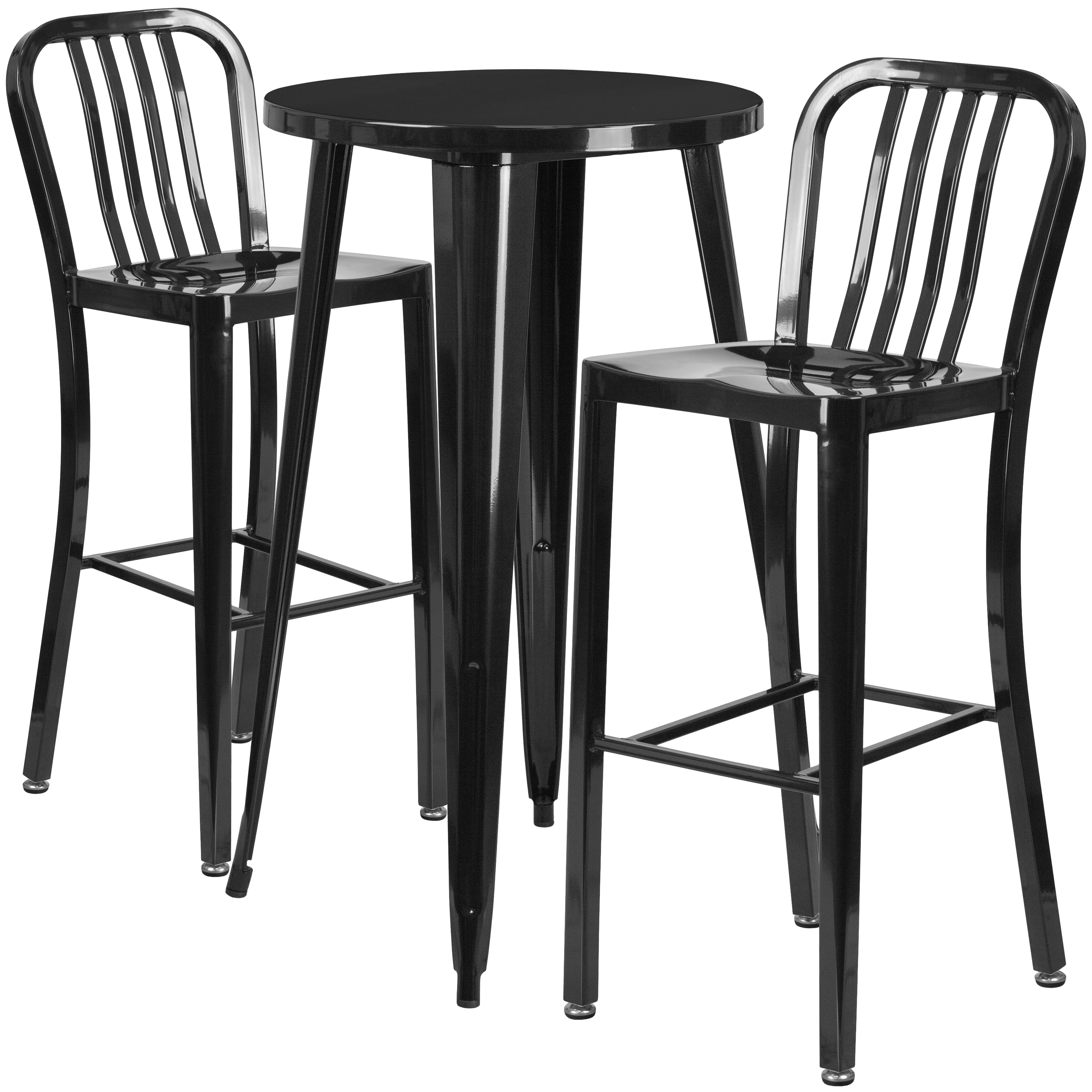 Flash Furniture 24'' Round Black Metal Indoor-Outdoor Bar Table Set with 2 Vertical Slat Back Stools