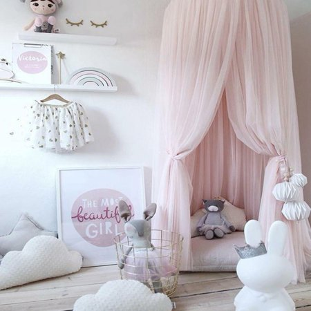 Beautiful Kids Room Bedding Mosquito Net Romantic Round Bed Mosquito Net Bed Cover Hung Dome Bed Canopy Crib Netting