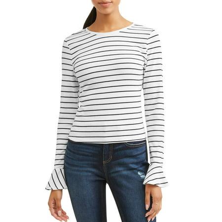 Women's Long Sleeve Striped Crewneck Trumpet Sleeve T-Shirt