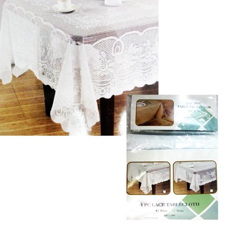 Lace Tablecloth Beige Vinyl 60