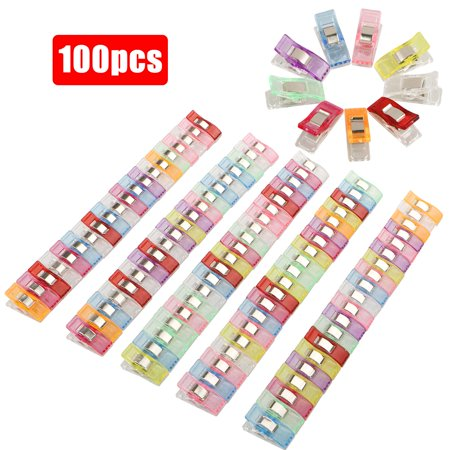 TSV 100Pcs Colorful Sewing Clips Binding Clips for Crafts Quilting Sewing Knitting (Zipper Clip)