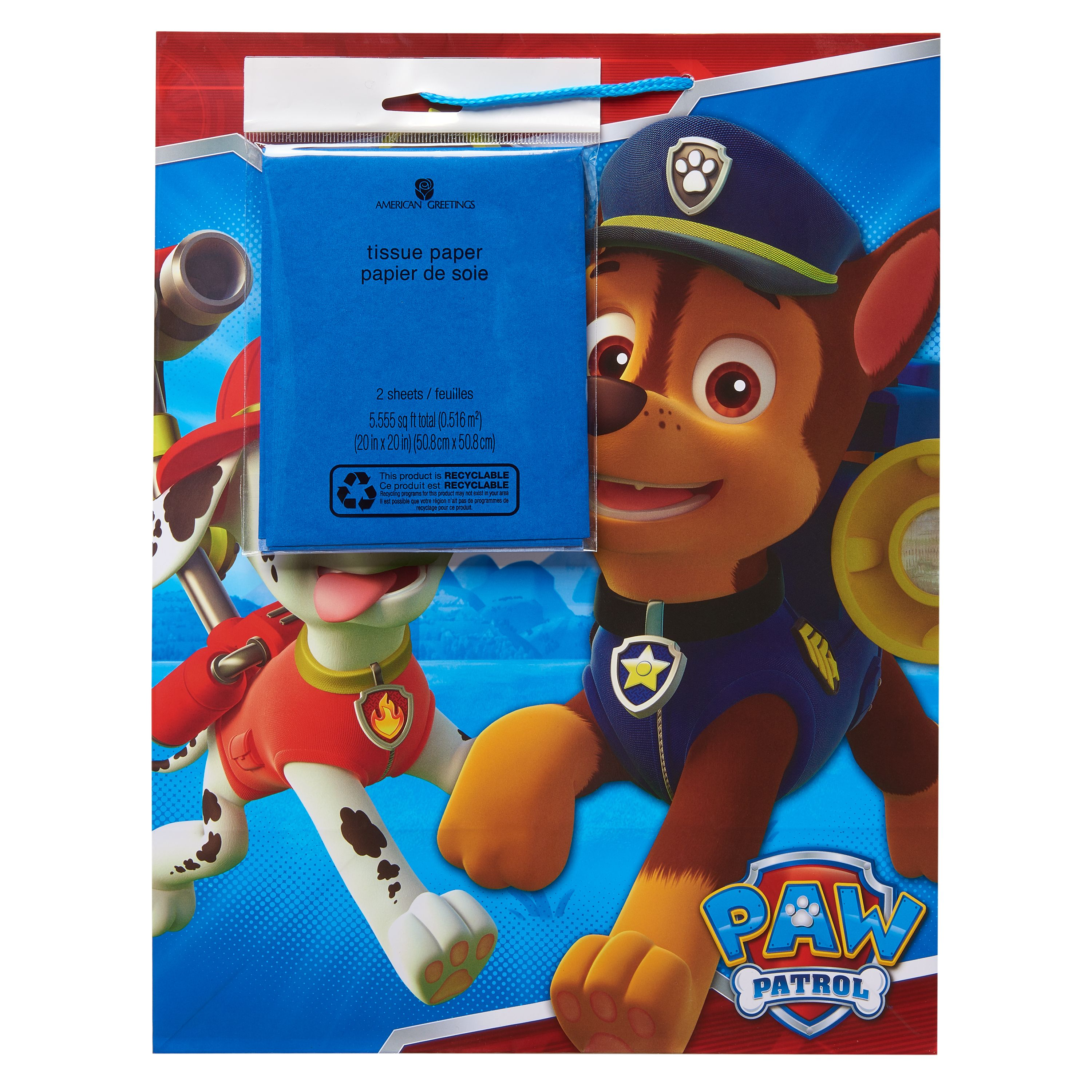 American Greetings PAW Patrol Large Gift Bag with Blue Tissue Paper