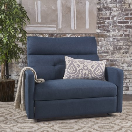 - Noble House Hildegard Fabric 2 Seater Recliner,Navy Blue