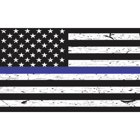Police Car Lamp - 5X3 Black and White Blue Lives Matter American Flag Sticker Car Cup Police Decal