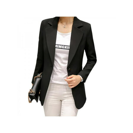 MarinaVida Women's Spring and Autumn Single Button Slim Suit Office Lady Formal Blazers Jacket