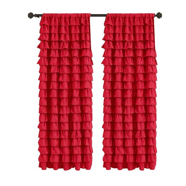 Watterfall Ruffled Fabric Window Curtain red - Walmart.com - Walmart.com