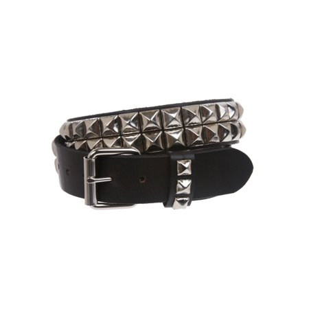 """1 1/2"""" Snap On Two Row Punk Rock Star Silver Studded Solid Leather Belt"""
