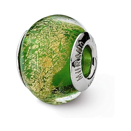 Sterling Silver Reflections Green/Gold Italian Murano Bead