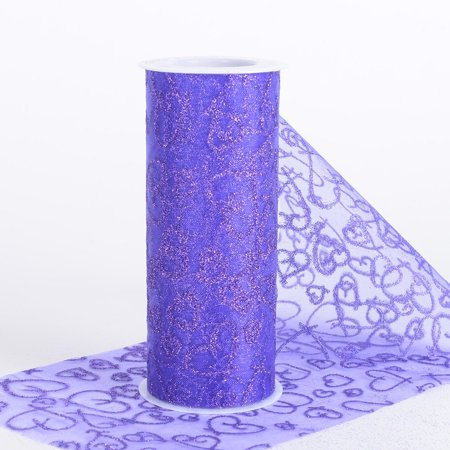 - BBCarfts 6 inch Glitter Hearts Organza Roll - ( W: 6 inch   L: 10 Yards ) (Purple), Ship in 1 Business Day. By Generic
