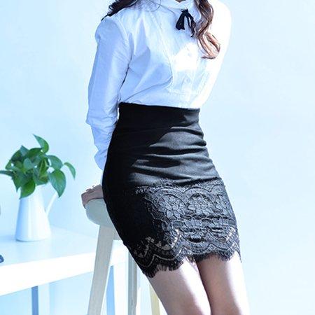 Women Crochet Lace Skirt Elastic Waist Hollow Out Work Career Mini OL Skirt Black - image 5 of 7