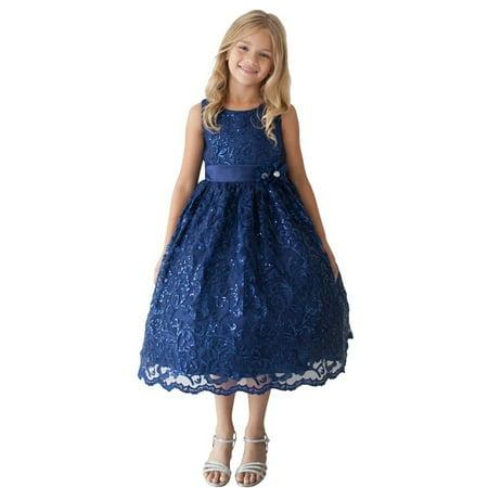ec89f093a098 Tip Top Kids - Little Girls Navy Sparkle Sequin Lace Overlay Elegant Flower Girl  Dress - Walmart.com