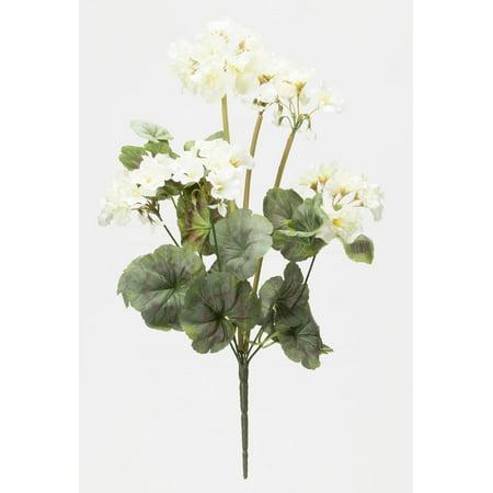 "- OakRidge Silk Geranium Bush – Artificial Flowers Outdoor Décor – Cream, 19"" Long"