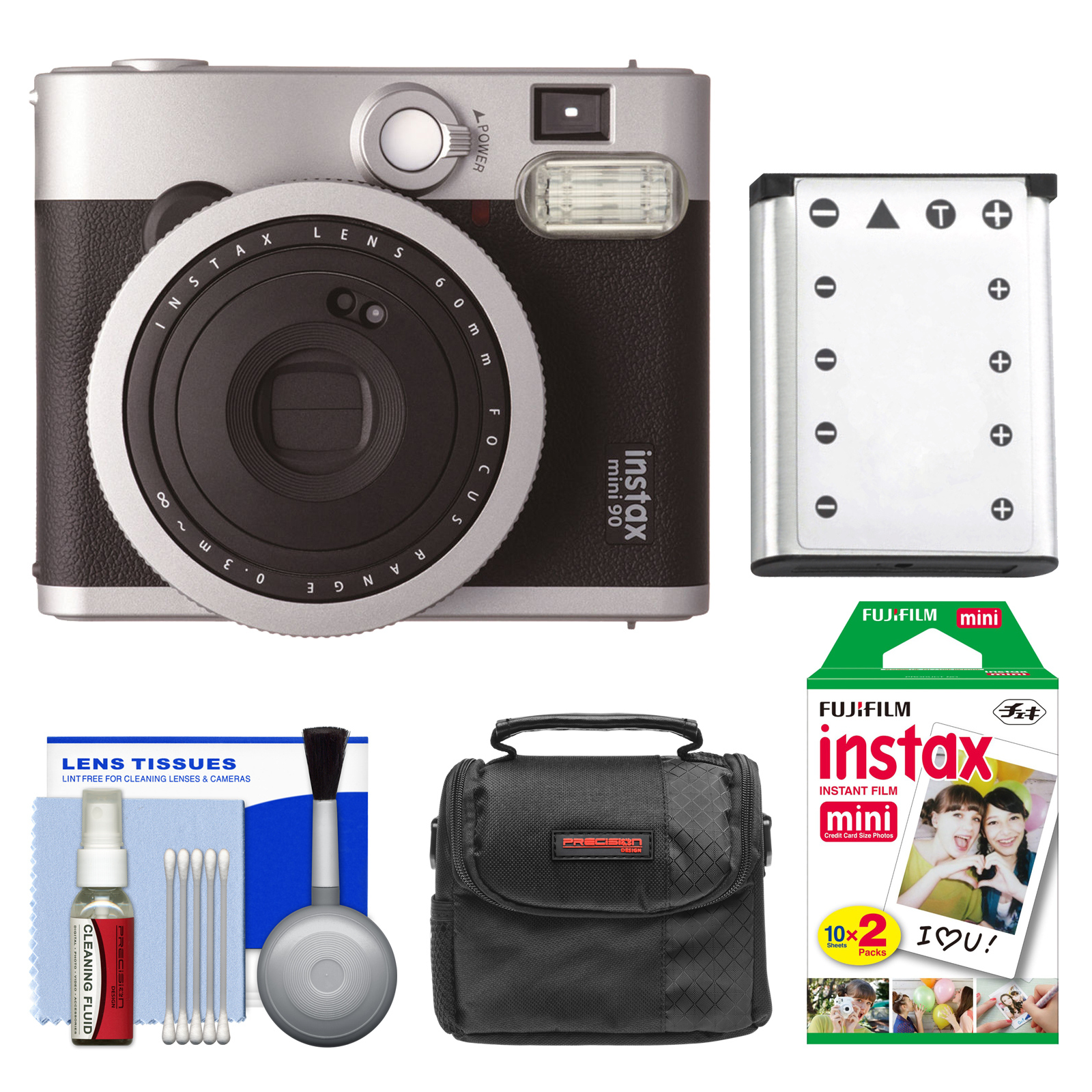 FujiFilm Instax Mini 90 Neo Classic Instant Film Camera with Instant Film + Case + Battery + Cleaning Kit by Fujifilm