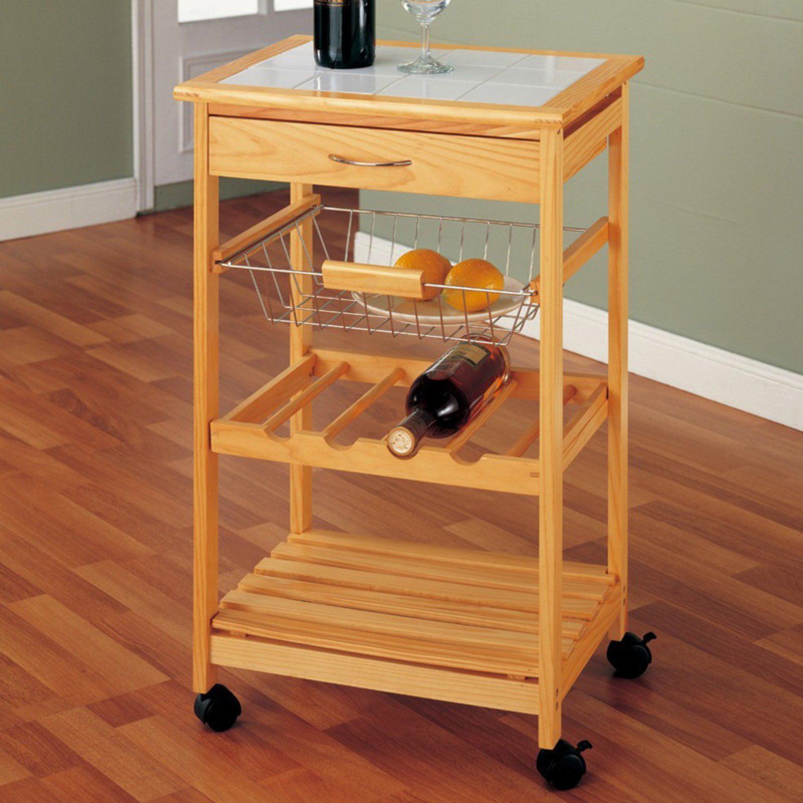 Neu Home Kitchen Cart with Basket, Pine