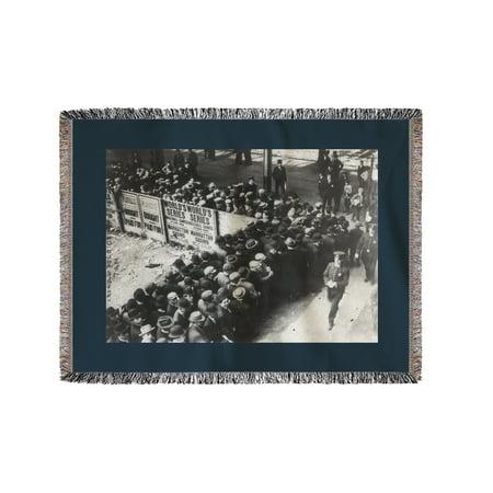 New York Giants Baseball Polo Grounds (Crowd at Polo Grounds, NY Giants, Baseball Photo #1 (60x80 Woven Chenille Yarn Blanket))