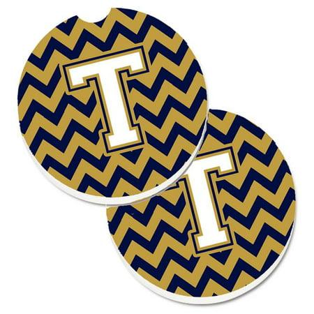 Letter T Chevron Green & Gold Set of 2 Cup Holder Car Coaster - image 1 de 1