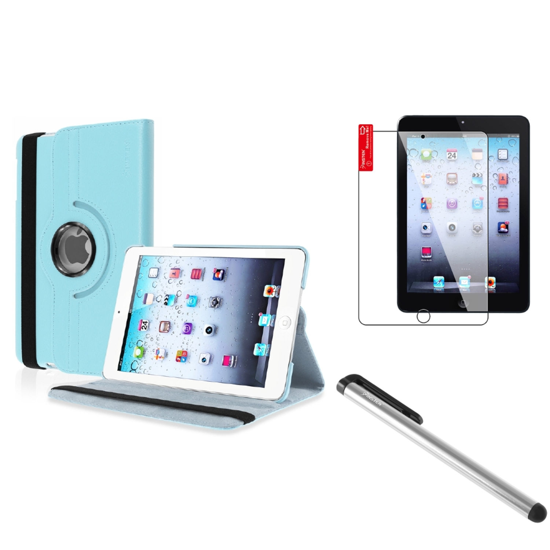 iPad Mini 3/2/1 Case, by Insten For Apple iPad Mini 1/2/3 PU Leather Case Cover Light Blue (Supports Auto Sleep/Wake)
