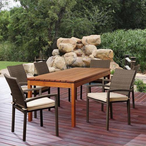 Amazonia Adriana 7-piece Eucalyptus and Wicker Outdoor Dining Room Set with Off-white Cushions by Overstock