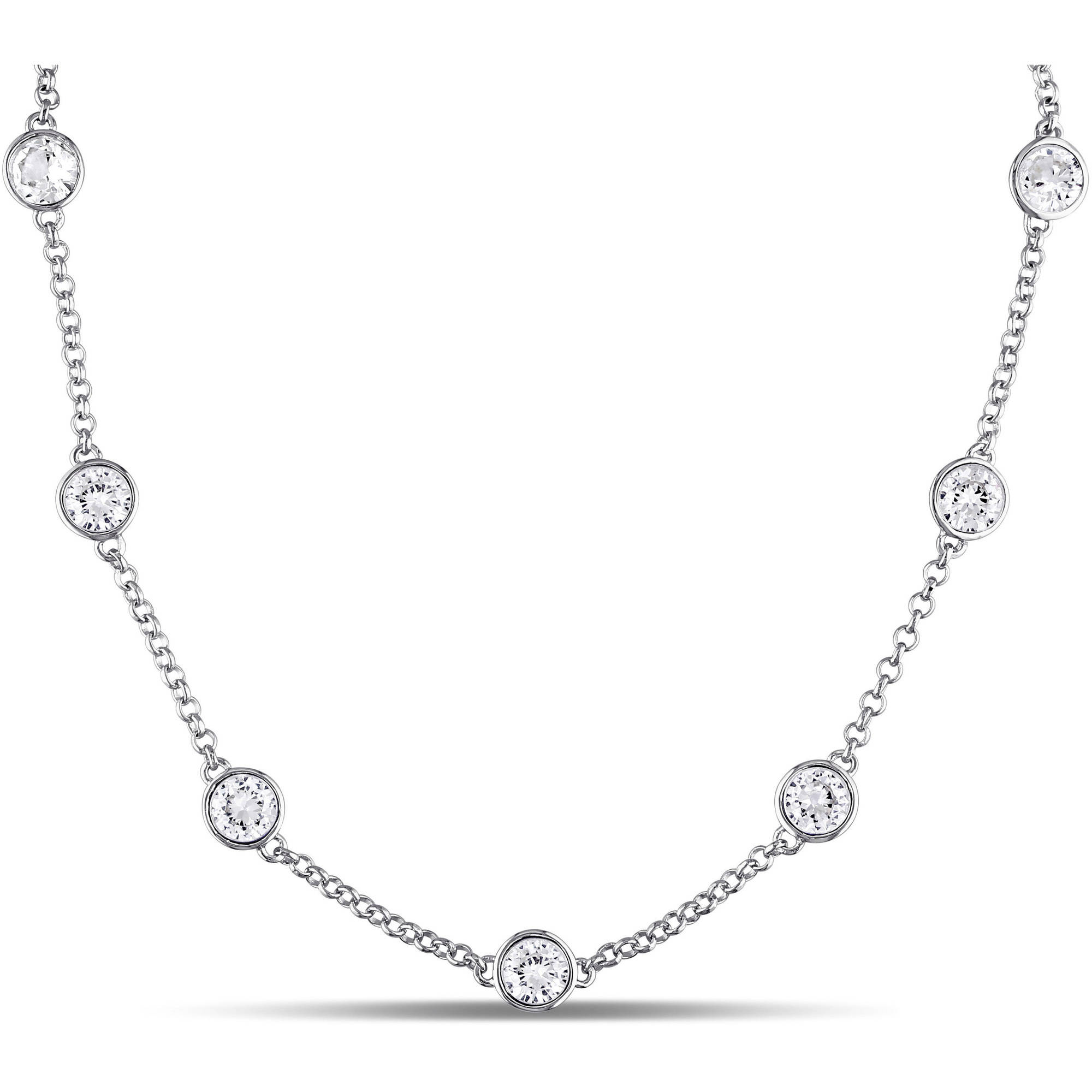 "Miabella 10-1 4 Carat T.G.W. Created White Sapphire Sterling Silver Station Necklace, 17"" by Miabella"
