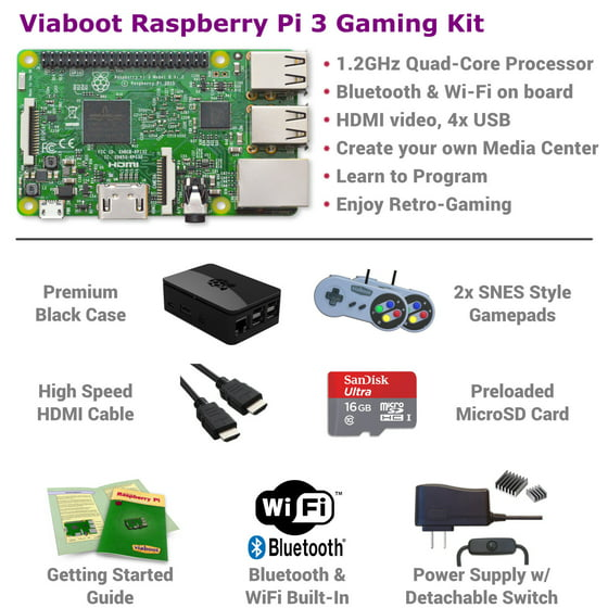 Viaboot Raspberry Pi 3 Gaming Kit (SNES Style) with Premium Black Case