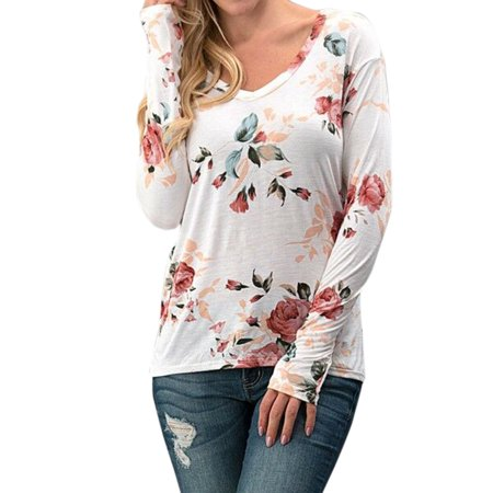 Nlife Women Casual Rose Floral Print Long Sleeve V neck Slim T shirt Top Tee for Spring Summer