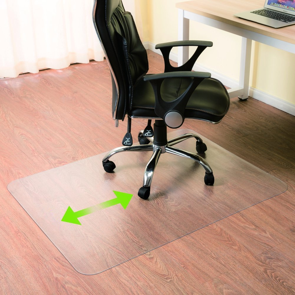 "Zimtown Upgraded Heavy Duty 48""x 30""PVC Chair Mat for Hardwood Floor, Rectangular 3mm Transparent Odorless Desk Chair Mat for Hard Floor, Wood or Hard Surface Flooring Protector for Office Home"