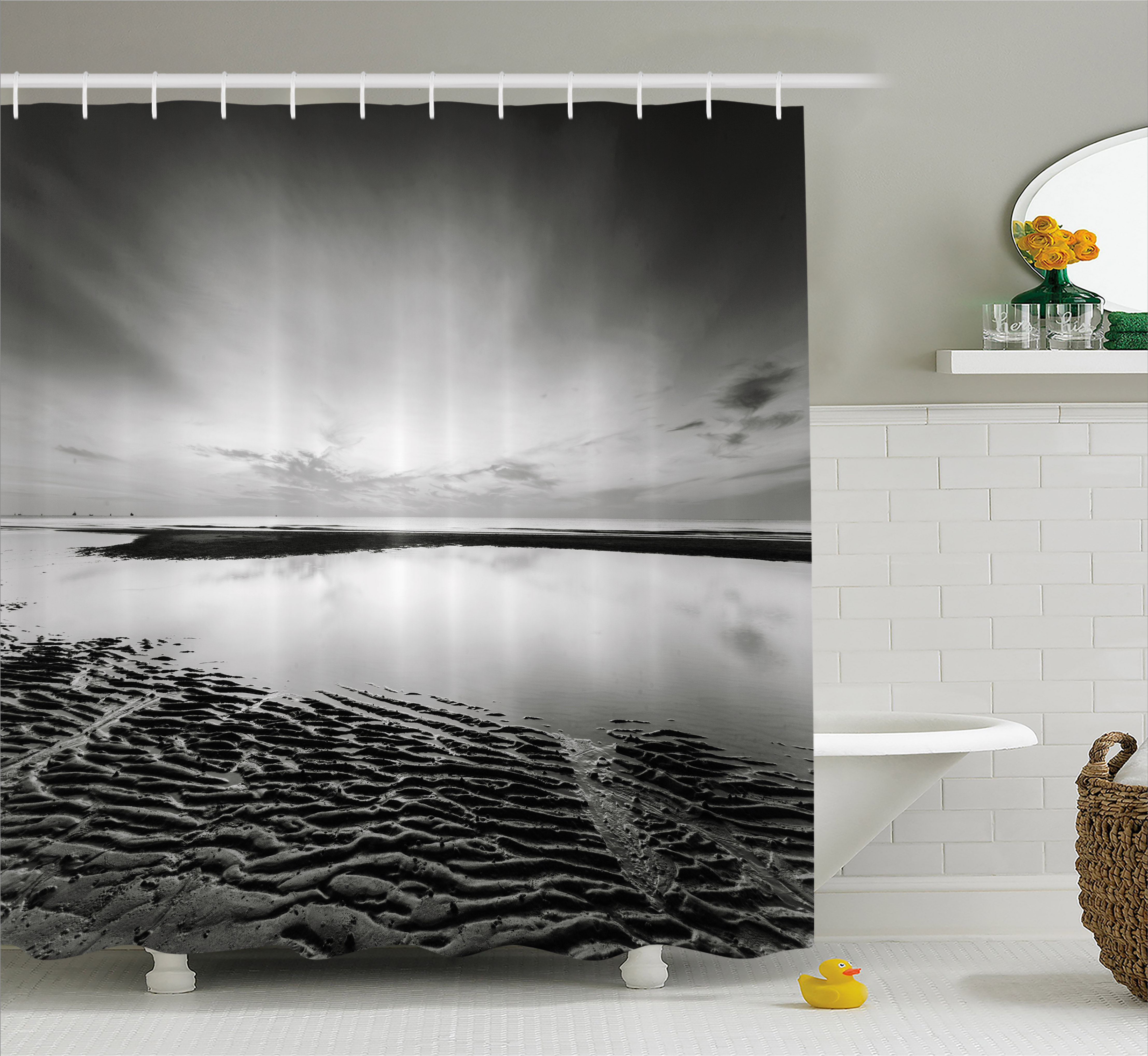 Black And White Shower Curtain Idyllic Sunrise At The Beach Rippled Seashore Dramatic View Image Fabric Bathroom Set With Hooks Grey