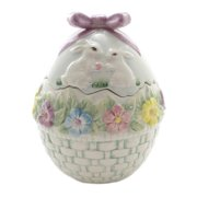Tabletop Egg Shaped Cookie Jar Bunny Rabbits Easter 10279